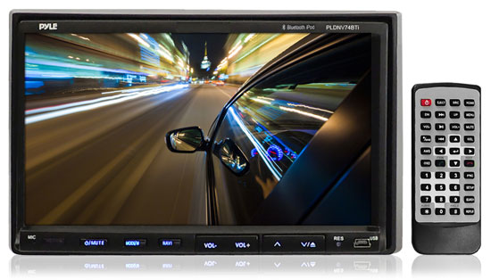Pyle - PLDN74BTI , On the Road , Headunits - Receivers , 7'' Double DIN TFT Touch Screen Multimedia Disc/VCD/CD/MP3/MP4/CD-R/USB/SD-MMC Card Slot/AM/FM/iPod Connector & Bluetooth
