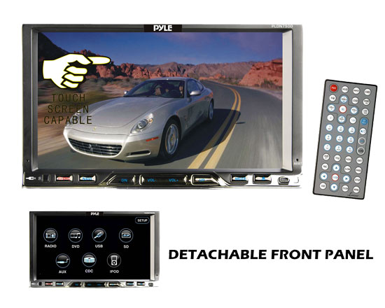 Pyle - PLDN750D , On the Road , Headunits - Stereo Receivers , 7'' Double Din Detachable TFT Touch Screen Multimedia Disc/MPEG4/MP3/DIVX-R/USB/SD/AM/FM/RDS