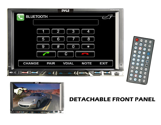 Pyle - PLDN76DB , On the Road , Headunits - Stereo Receivers , 7'' Double Din Detachable TFT Touch Screen Multimedia Disc/MPEG4/MP3-R/USB/SD/AM/FM/RDS With Bluetooth