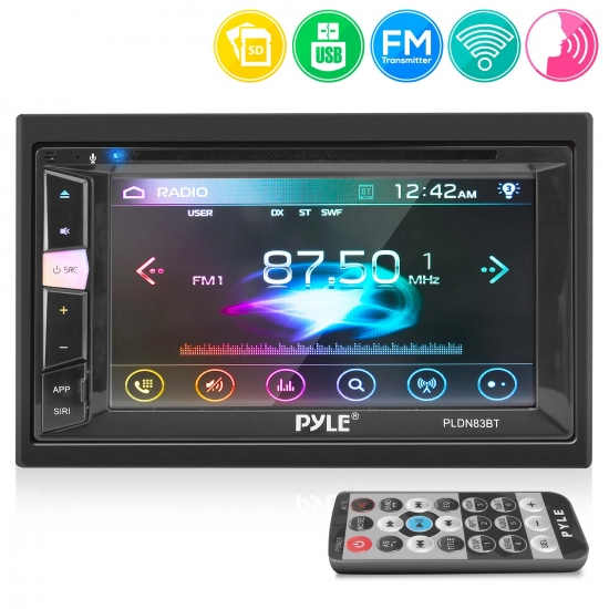 Pyle - CA-PLDN83BT.5 , On the Road , Headunits - Stereo Receivers , 6.2'' Double Din Multimedia Disc Car Stereo - Touch Screen TFT/LCD Monitor, Multimedia Disc/MP3/MP4-R/USB/Micro SD Card Slot, AM/FM, Bluetooth Receiver
