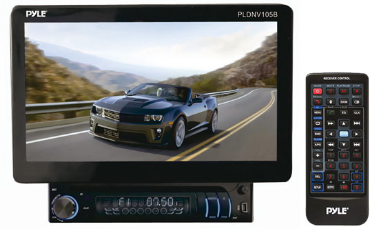 Pyle - PLDNV105B , On the Road , Headunits - Stereo Receivers , 10.1'' Motorized TFT/LCD Touch Screen Detachable Display Multimedia Receiver w/Bluetooth/AUX-In iPod Cable/GPS w/USA/Canada/Mexico Maps