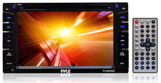 Pyle - PLDNV65I , On the Road , Headunits - Stereo Receivers , 6.5'' Double DIN In-Dash Touch-Slide Control Screen TFT/LCD Monitor w/ Multimedia Disc/MP3/MP4/SD/USB/AM-FM/Bluetooth & Screen Dial Pad Built-In GPS/TTS w USA/Canada & Mexico Maps
