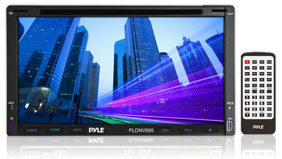 Pyle - PLDNV695 , On the Road , Headunits - Stereo Receivers , 6.95'' Double-DIN Touchscreen Video Multimedia Disc/MP4/MP3 Player With Hands-Free Bluetooth, GPS w/USA/Canada/Mexico Maps, USB/SD, Aux-In