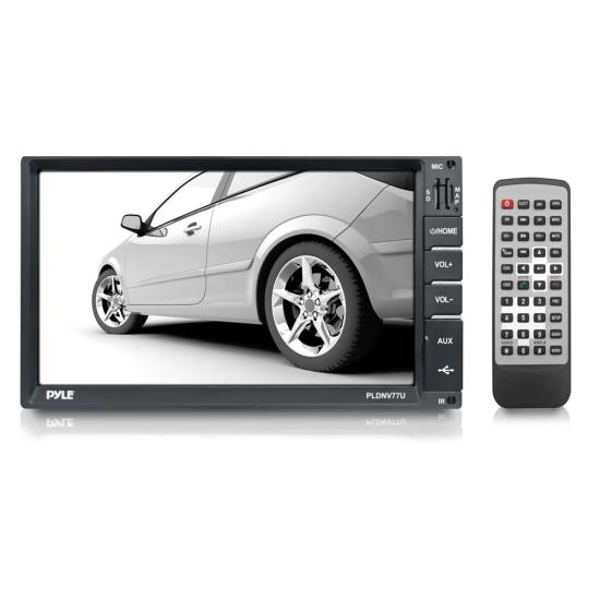 "Pyle - PLDNV77U , Mobile Video / Navigations , Car Navigation , 7"" Bluetooth LCD Digital Touch Screen Receiver with GPS Maps, USB/SD Memory Card Readers, AUX/MP3 Input, Double DIN with Remote"