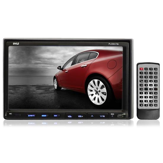 Pyle - PLDNV78I , Mobile Video / Navigations , In-Dash DVD With Monitors , 7'' Double DIN In-Dash Touch Screen TFT/LCD Monitor w/ Multimedia Disc/CD/MP3/MP4/USB /SD/AMFM/RDS/Bluetooth & Screen Dial Pad Built-In GPS/TTS w/ USA/Canada & Mexico Maps