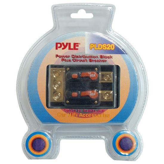 Pyle - PLDS20 , Car Audio , Audio / Video Cables And Accessories , Fuses Blocks and Panels , Dual 40 Amp In-Line Circuit Breaker/ Power distribution block