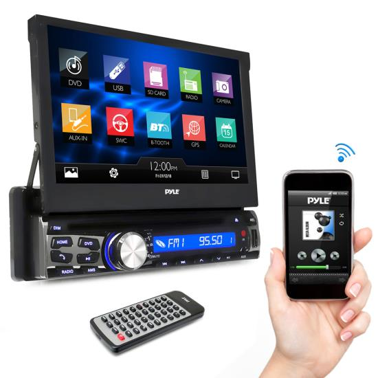 Pyle - AZPLDT87BT , On the Road , Headunits - Stereo Receivers , 7-inch Bluetooth Headunit Receiver, Built-in Mic for Hands-Free Call Answering, Touch Screen, Multimedia Disc Player, USB/Micro SD Readers, AM/FM Radio, AUX Input, Single DIN