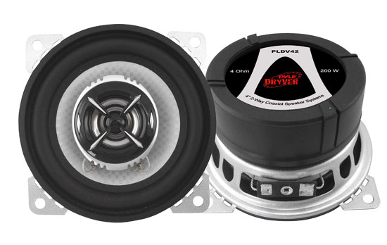 Pyle - PLDV42 , On the Road , Vehicle Speakers , 4'' 200 Watt Two-Way  Speaker