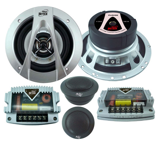 Pyle - PLDV6K , On the Road , Vehicle Speakers , 6.5'' 240 Watt 2-Way Component System