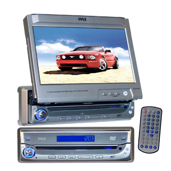 Pyle - PLDVIN7 , On the Road , Headunits - Stereo Receivers , In-Dash AM/FM Multimedia Disc Player w/Motorized Pull Out 7'' TFT Monitor