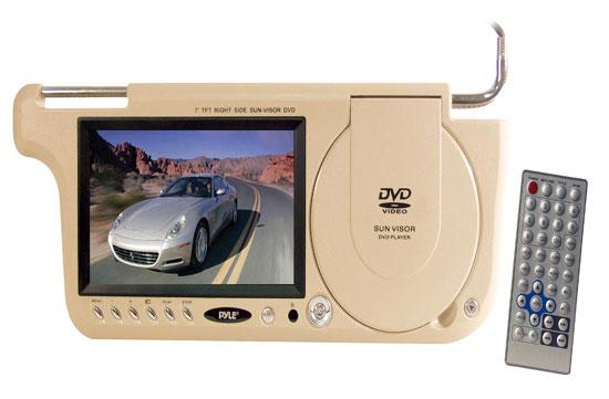 Pyle - PLDVSL7T , On the Road , Video Monitors , 7'' TFT Left Side Sunvisor Multimedia Disc (Tan)