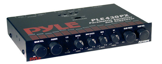 Pyle - PLE430PX , On the Road , Equalizers - Crossovers , In-Dash 4 Band Parametric Equalizer/Crossover