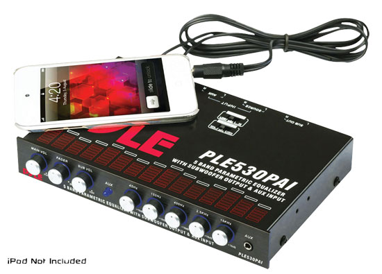 Pyle - PLE530PAI , On the Road , Equalizers - Crossovers , 1/2 Din 5 Band Parametric Equalizer with Built-in Crossover & Subwoofer Control