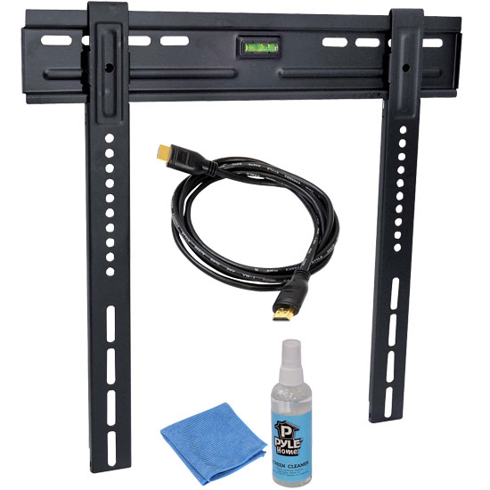 Pyle - PLEDTKIT1 , Home and Office Audio / Video & More , LCD / Plasma , LCD / Plasma Wall Mount , Super Slim Low-profile TV Mount Fits 26-42 Inch Tv, HDMI Cable, and Screen Cleaner Kit