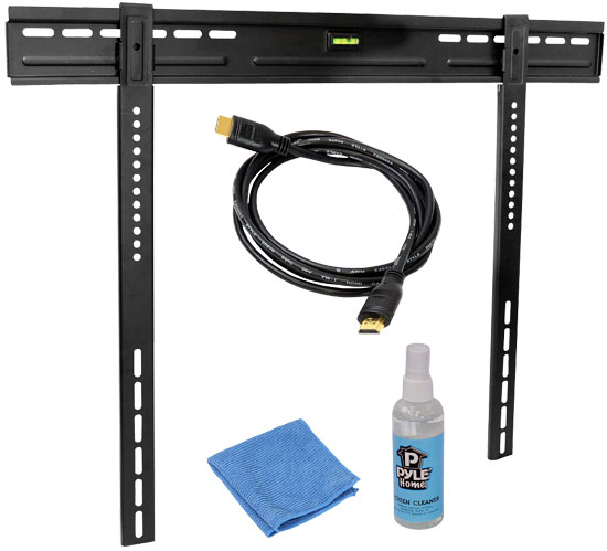 Pyle - PLEDTKIT3 , Home and Office Audio / Video & More , LCD / Plasma , LCD / Plasma Wall Mount , Super Slim Profile TV Wall Mount Fixed for 32 to 60 inch LED or LCD TVs HDMI Cable, And Screen Cleaner Included