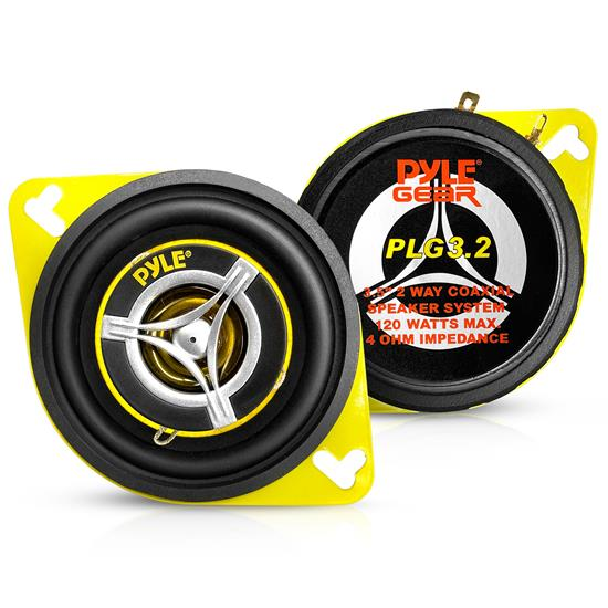 Pyle - PLG3.2 , On the Road , Vehicle Speakers , 3.5'' 120 Watt Two-Way Speakers