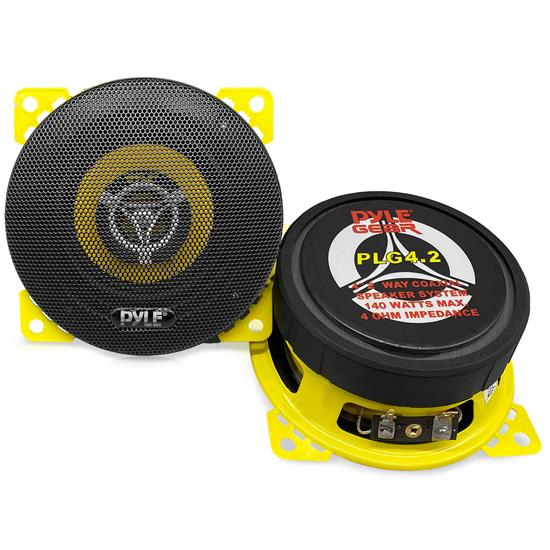 Pyle - PLG4.2 , On the Road , Vehicle Speakers , Pyle Gear 4'' -inch Coaxial Car Speaker Pair - 2-Way Vehicle Speakers, 140 Watt MAX