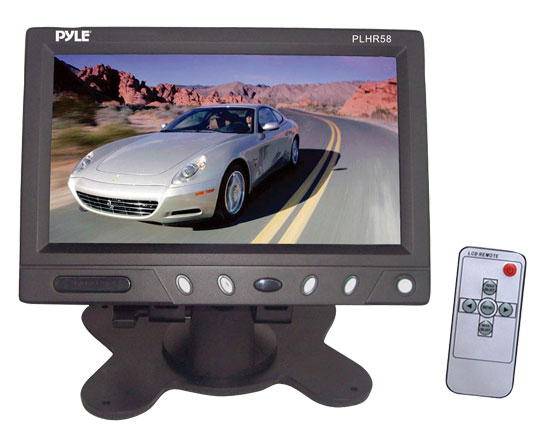 Pyle - PLHR58 , On the Road , Headrest Video , 5.8'' Wide Screen TFT LCD Video Monitor w/Headrest Shroud and Universal Stand