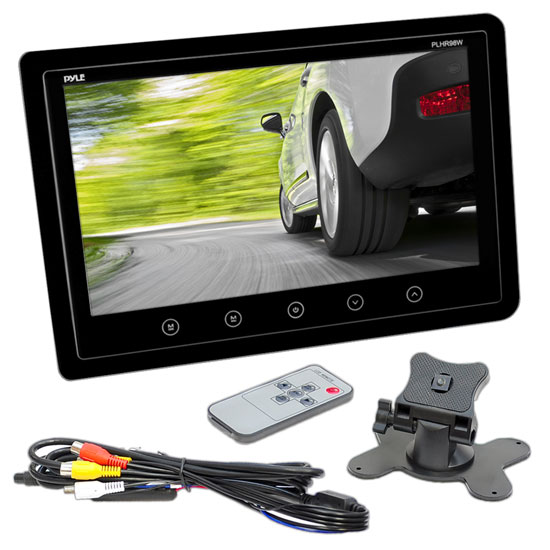 Pyle - PLHR95B , On the Road , Video Monitors , 9.2'' Hi-Res Widescreen Digital Monitor Display Screen, Dual RCA Video Input Connectors, Detachable Shroud Mount Housing (Black)