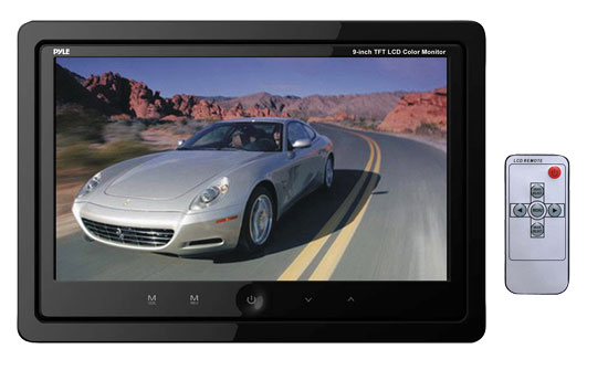 Pyle - PLHR99IW , Home and Office , TVs - Monitors , 9'' Quad TFT/LCD Video Monitor w/Headrest Shroud w/BNC Connectors