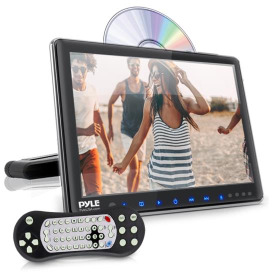 Pyle - PLHRDVD904 , On the Road , Headrest Video , Vehicle Headrest Mount Multimedia Disc Player - Car Video Entertainment Display Monitor (9.4'' -inch)