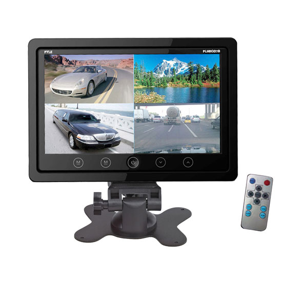 Pyle - PLHRQD7B , On the Road , Video Monitors , 7'' Video Display Monitor, Quad View (4) Source Zone Display, Multiple Source Input, Selectable Viewing Mode, Backup Camera Compatible (Black)