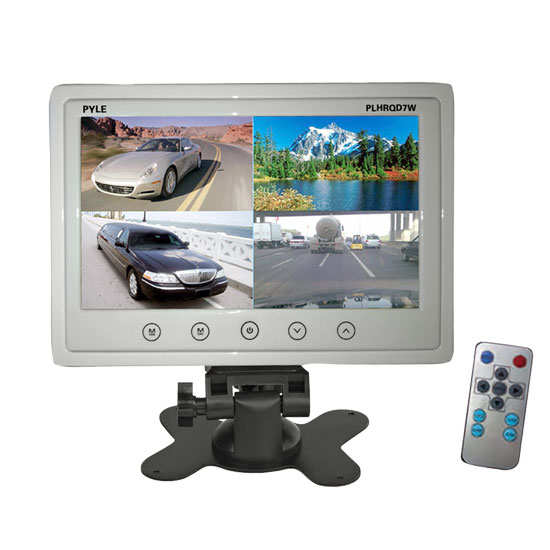 Pyle - PLHRQD7W , On the Road , Video Monitors , 7'' Video Display Monitor, Quad View (4) Source Zone Display, Multiple Source Input, Selectable Viewing Mode, Backup Camera Compatible (White)