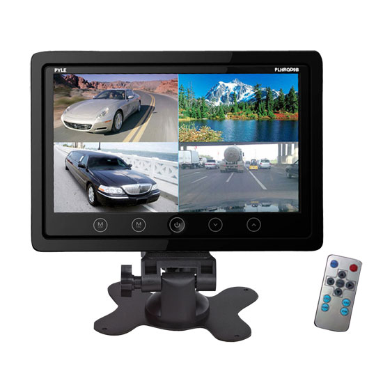 Pyle - PLHRQD9B , On the Road , Video Monitors , 9'' Video Display Monitor, Quad View (4) Source Zone Display, Multiple Source Input, Selectable Viewing Mode, Backup Camera Compatible (Black)