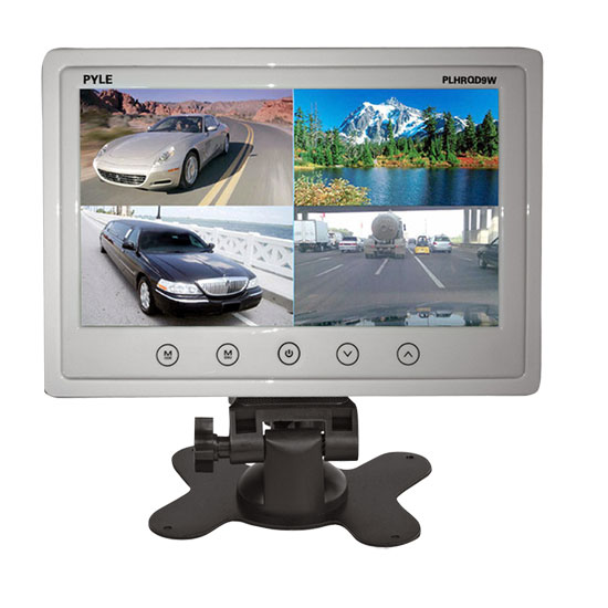 Pyle - PLHRQD9W , On the Road , Video Monitors , 9'' Video Display Monitor, Quad View (4) Source Zone Display, Multiple Source Input, Selectable Viewing Mode, Backup Camera Compatible (White)