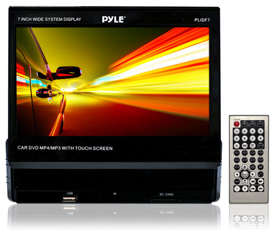 Pyle - PLIDF7 , On the Road , Headunits - Receivers , 7'' Touch Screen Slide Out TFT/LCD Monitor with Multimedia Disc/CD/MP3/AM/FM Receiver