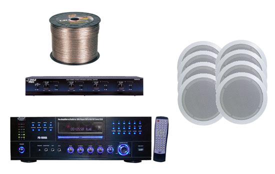 8 Speaker Package 1000 Watt Am  Fm Cd  Dvd  Mp3  Usb Receiver