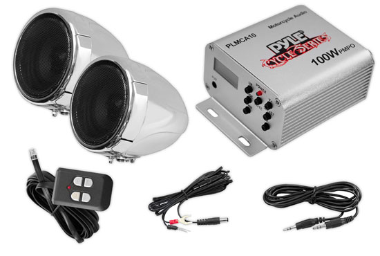 Pyle - PLMCA10 , MotorCycle / ATV Audio , Audio , 100 Watt Weatherproof Speaker and Amplifier System with Dual 3'' Speakers, Aux (3.5mm) Input, Handlebar Mount (for Motorcycle, ATV, Snowmobile, Scooter, Boat, Waverunner, Jetski, etc.)