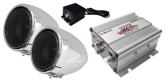 Pyle - PLMCA20 , MotorCycle / ATV Audio , Audio , 100 Watt Weatherproof Speaker and Amplifier System with Dual 3'' Speakers, Aux (3.5mm) Input, Handlebar Mount (for Motorcycle, ATV, Snowmobile, Scooter, Boat, Waverunner, Jetski, etc.)