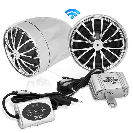 Pyle - PLMCA31BT , On the Road , Motorcycle and Off-Road Speakers , 400 Watt Bluetooth Sound System for Motorcycle/ATV/Snowmobile with Weatherproof Speakers, Amplifier, 3.5mm Input for iPod/MP3 Players, iPhones, Smartphones, Dual Handle-Bar Mount