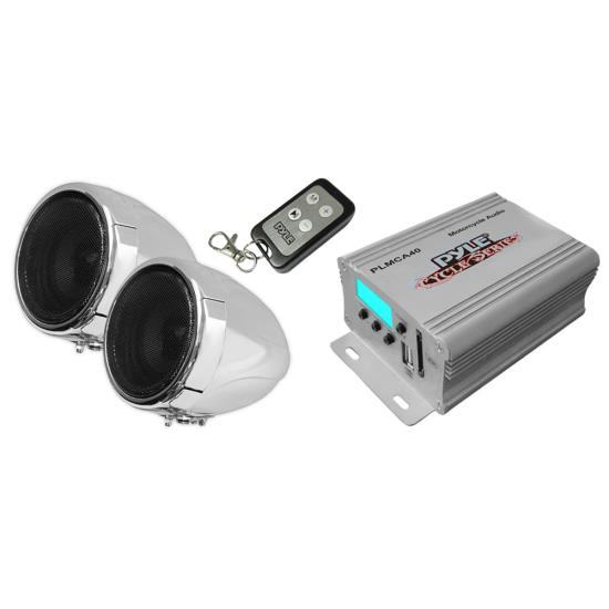 Pyle - PLMCA40 , On the Road , Motorcycle and Off-Road Speakers , 100 Watt Weatherproof Speaker and Amplifier System, with Dual 3'' Speakers, USB/SD Card Readers, Aux (3.5mm) Input, Handlebar Mount, FM Radio (for Motorcycle, ATV, Snowmobile, Scooter, Boat, Waverunner, Jetski, etc.)