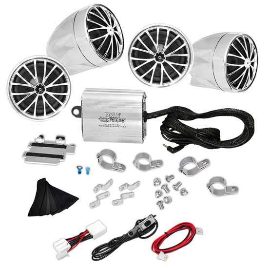 Pyle - PLMCA70 , Home and Office , Speakers , Sound and Recording , Speakers , (4) Speakers - 800 Watt Weatherproof Speaker Kit for Motorcycle, ATV, Snowmobile - Includes Amplifier, Handle-Bar Mounts & iPod/MP3 Input