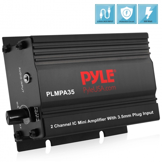 Pyle - PLMPA35 , Home Audio / Video , Amplifiers , 2 Channel 300 Watt Mini Amplifier w/3.5mm Input