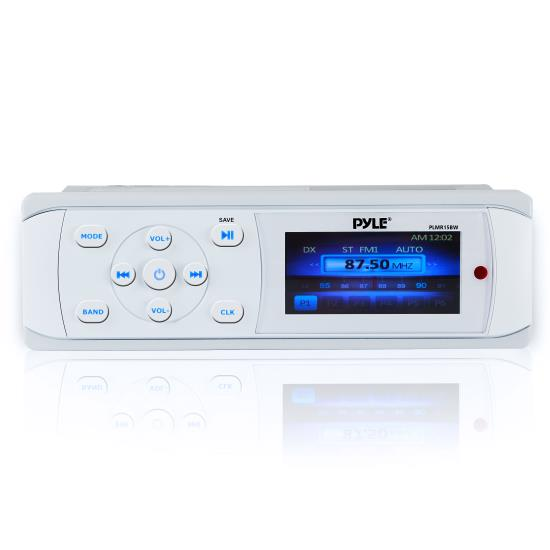 Pyle - UPLMR15BW , Marine and Waterproof , Headunits - Stereo Receivers , Universal Bluetooth Marine Stereo Radio Receiver, Water-Resistant/Weatherproof, 3'' Color LCD Display, MP3/USB Reader, AM/FM Radio, Weatherband Radio