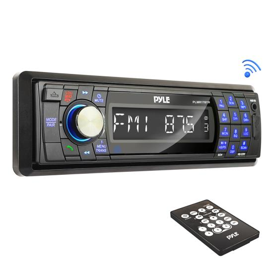 Pyle - PLMR17BTB , Marine and Waterproof , Headunits - Stereo Receivers , Bluetooth Stereo Radio Headunit Receiver, Wireless Streaming & Hands-Free Call Answering, Aux (3.5mm) MP3 Input, USB Flash & SD Card Readers, Remote Control, Single DIN (Black)