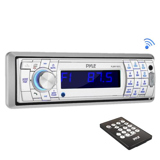 Pyle - PLMR17BTS , Marine and Waterproof , Headunits - Stereo Receivers , Bluetooth Stereo Radio Headunit Receiver, Wireless Streaming & Hands-Free Call Answering, Aux (3.5mm) MP3 Input, USB Flash & SD Card Readers, Remote Control, Single DIN (Silver)