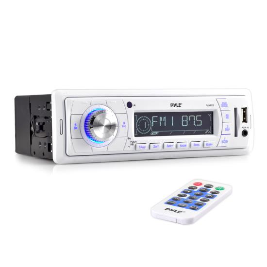 Pyle - PLMR18 , Marine and Waterproof , Headunits - Stereo Receivers , Stereo Radio Headunit Receiver, Aux (3.5mm) MP3 Input, USB Flash & SD Card Readers, Remote Control, Single DIN (White)