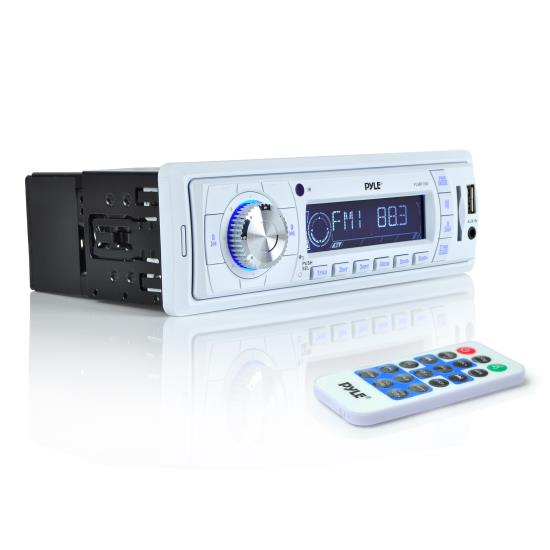 Pyle - PLMR19W , Marine and Waterproof , Headunits - Stereo Receivers , Stereo Radio Headunit Receiver, Aux (3.5mm) MP3 Input, USB Flash & SD Card Readers, Remote Control, Weatherband, Single DIN (White)