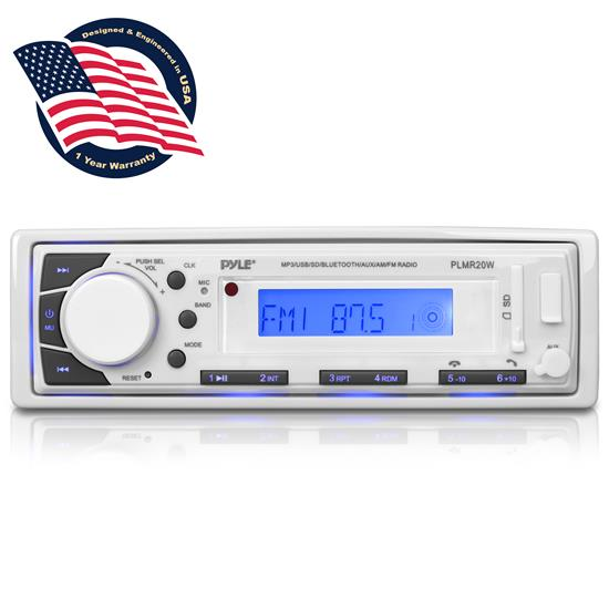 Pyle - PLMR20W , Marine and Waterproof , Headunits - Stereo Receivers , Marine Stereo Radio Headunit Receiver, Aux (3.5mm) MP3 Input, USB/SD Memory Card Readers, AM/FM Radio, Single DIN