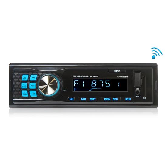 Pyle - UPLMR22BT , Marine and Waterproof , Headunits - Stereo Receivers , Bluetooth Stereo Radio In-Dash Console Headunit Receiver, USB/SD/MP3 Playback, Aux (3.5mm) Input, AM/FM Radio, Single DIN