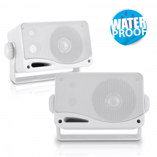 Pyle - PLMR24 , Marine and Waterproof , Weatherproof Speakers , 3.5'' 200 Watt 3-Way Weather Proof Mini Box Speaker System (White)