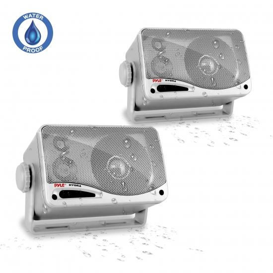 Pyle - PLMR24S , Used , 3.5'' 200 Watt 3-Way Weather Proof Mini Box Speaker System (Silver Color)