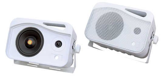 Pyle - PLMR25 , Marine and Waterproof , Weatherproof Speakers , 4'' 300 Watt 3-Way Weather Proof Mini Box Speaker System (White)