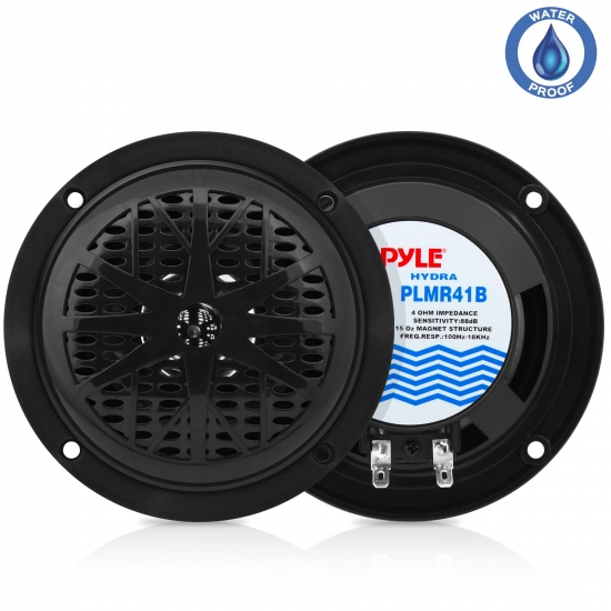 Pyle - PLMR41B , Marine and Waterproof , Weatherproof Speakers , 4'' Dual Cone Waterproof Stereo Speaker System