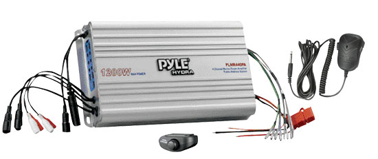 Pyle - PLMR440PA , Marine Audio & Video , Amplifiers , 4 Channel Marine Power Amplifier/Public Address System