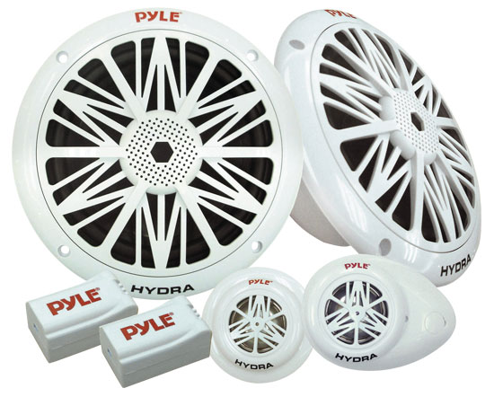 Pyle - PLMR5K , Used , Water Resistant Marine Component Speaker System, Dual 5.25'' Speakers, Dual Tweeters, Dual Electronic Crossovers (Sold as Kit)